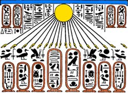 The sun disc Aten shining on the names of the royal family