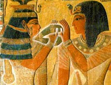 Hathor offering the menet to Seti I