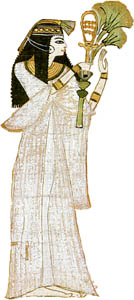 Woman offering a sistrum and papyrus plants